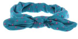 Haarband petrol met roze stippen
