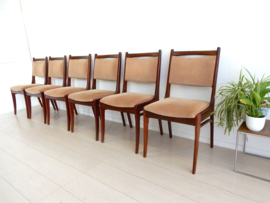 6X retro vintage stoel jaren 60 eetkamerstoel teakhout