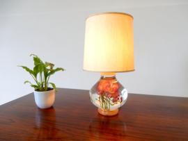 retro vintage dressoir lamp Bloemlamp jaren 70 tafellamp