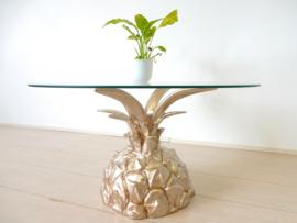 vintage ananas goud salontafel bijzettafel jaren 70 rond glas