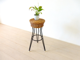 retro vintage rotan / riet kruk stoel jaren 50 plantentafel