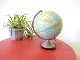 retro vintage wereldbol globe lamp tafellamp uit 1965