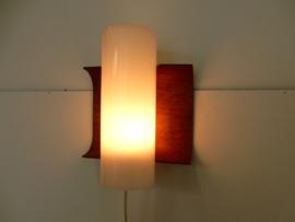retro vintage Wandlamp lamp teak jaren 60 plywood