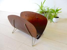 retro vintage design lectuurbak gebogen hout jaren 50 / 60
