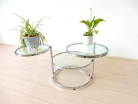 vintage Leitmotiv bijzettafel salontafel rond chroom