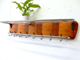 XL retro vintage kapstok jaren 50 / 60 hout chroom