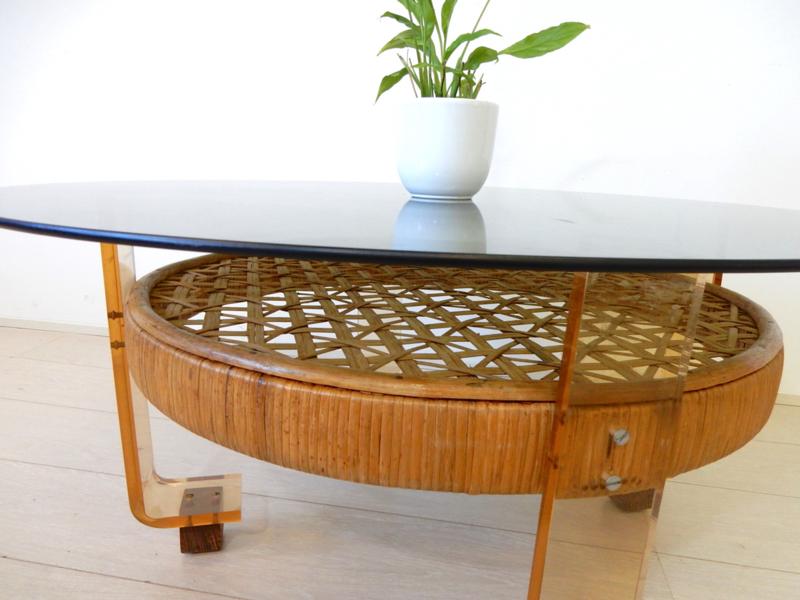 Betere Retro vintage design salontafel tafel jaren 60 70 rond glas | Sold ER-78