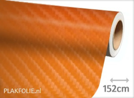 Carbon oranje 4D (wrap) folie 152CM BREED x P/M