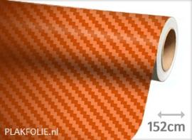 Carbon oranje 3D (wrap) folie 152CM BREED x P/M