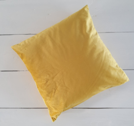 Velours kussen yellow