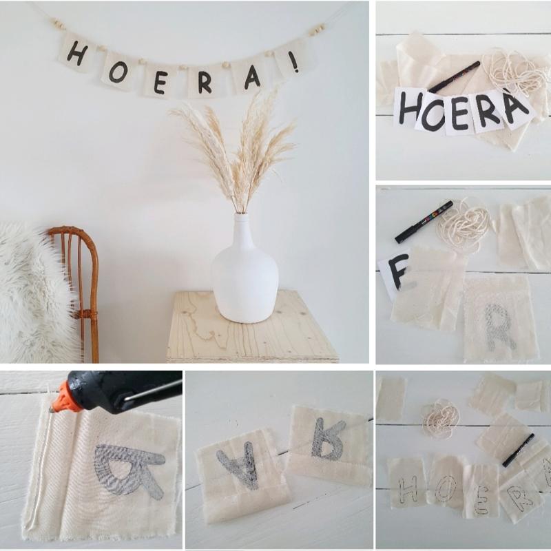 DIY vlaggetjes slinger met tekst