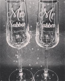 Set champagne glazen Mrs & Mr