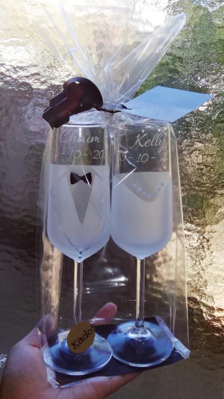 Fonkelnieuw Set Bruiloft champagne glazen bruid en bruidegom   Trouwen   Kado ML-33