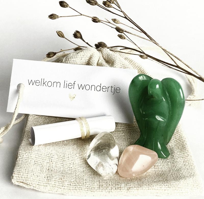 Welkom lief wondertje... (zakje met gratis naam)