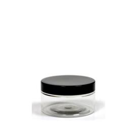 20 stuks - 100 ml pet pot met zwarte deksel
