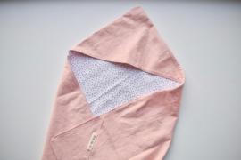 Omslagdoek kleine stip - Roze linnen