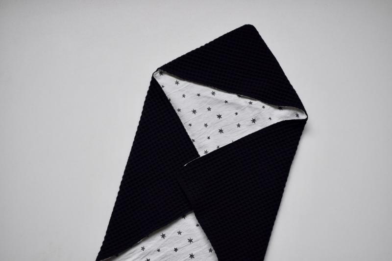 MiNi omslagdoek   zwarte wafel - stars