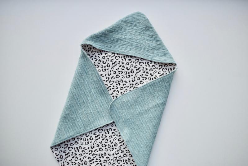 MiNi omslagdoek | blauw - panterprint