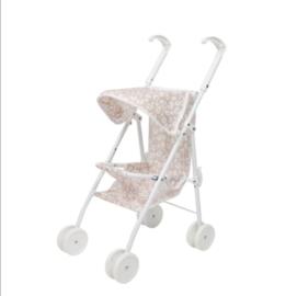 Poppen buggy panterprint roze