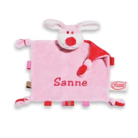 Tutpoppetje met labeltjes roze met naam