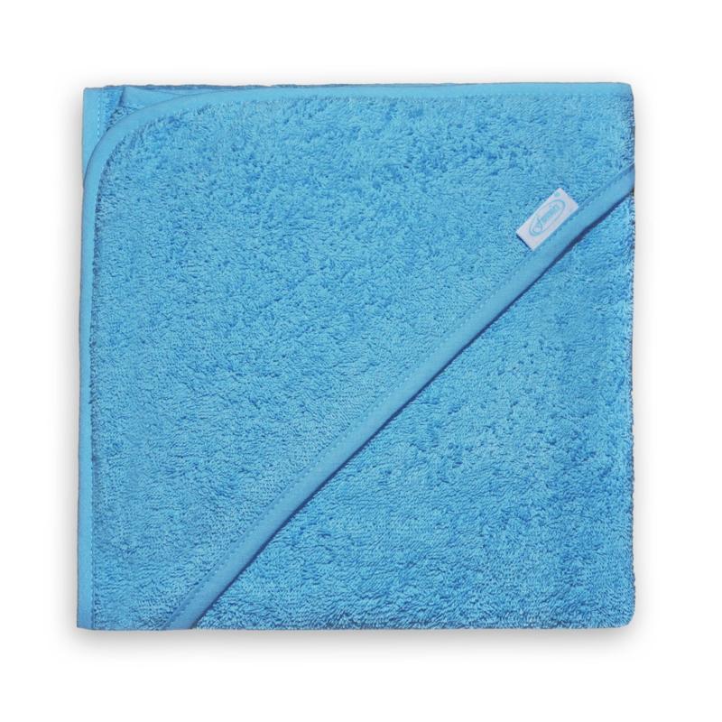 Badcape zachtblauw met naam