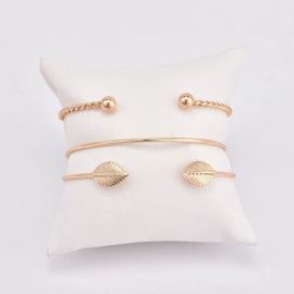 Leaf Bangle Armband - Goud