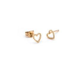 Dotted Heart Oorbellen - Goud