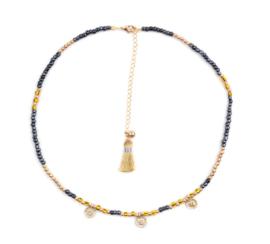 Beads choker - geel
