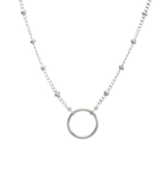 Dotted Circle Ketting - Zilver