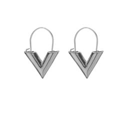 V Shaped Oorbellen - Goud/Zilver