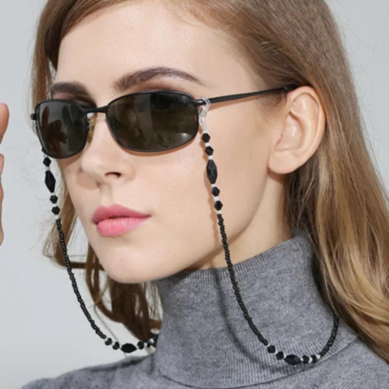 Black Beads zonnebrilkoord  - Zwart