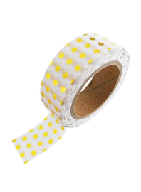Whasi Tape  White Gold Foil Dots