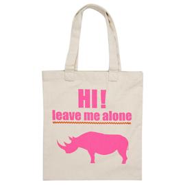 """Leave Me Alone"" Rhino Tote Bag - White"