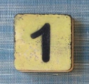 Houten Scrabble cijfer1