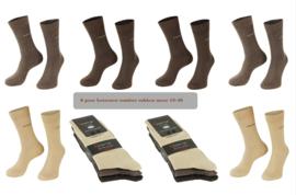 6 paar anti press comfort sokken bruin assorti kleuren