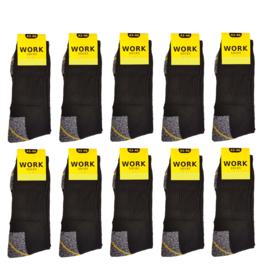 werksokken grijs/zwart/geel 10 paar