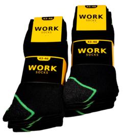 Work werksokken zwart met fluor groen