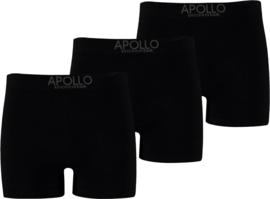 Apollo naadloos katoen set van 3 zwarte heren boxershorts
