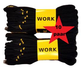 werksokken zwart/geel 10 paar