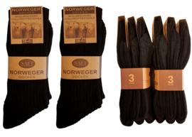 Noorse sokken zwart 6 paar