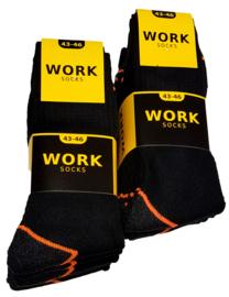Work werksokken zwart met fluor oranje