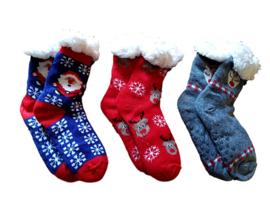 Kerstsokken , huissokken antislip 3 paar 35-40