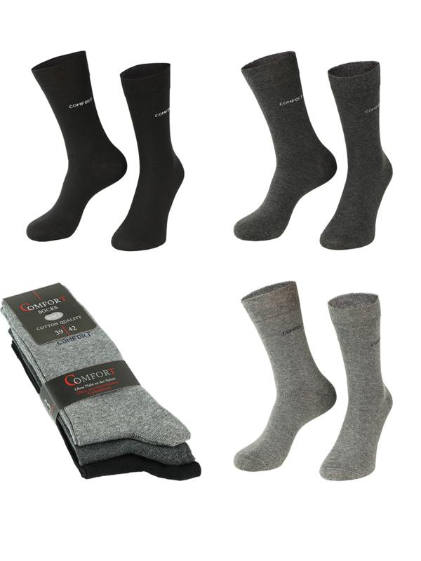 6 paar anti press comfort sokken grijs assorti kleuren