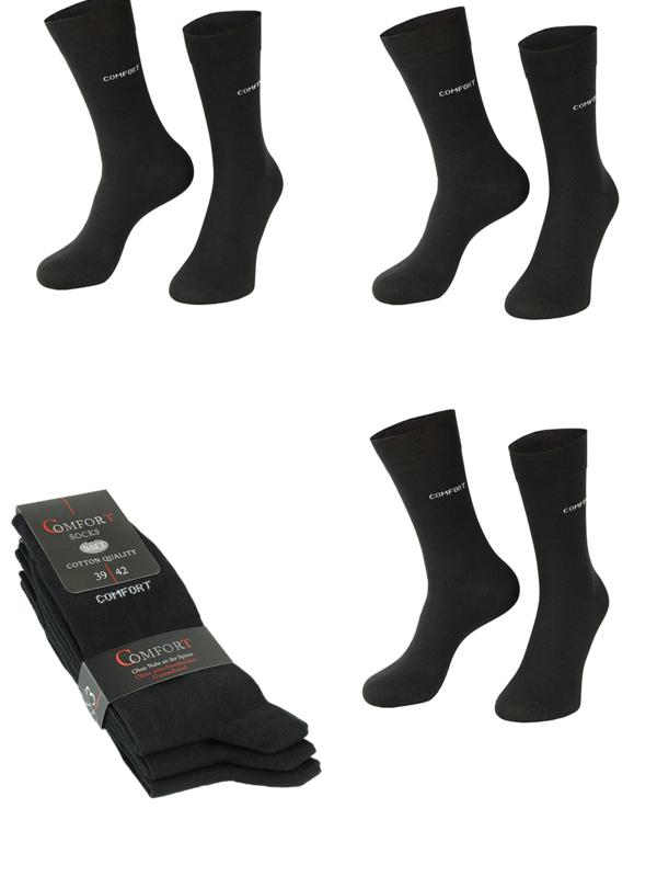 6 paar anti press comfort sokken zwart