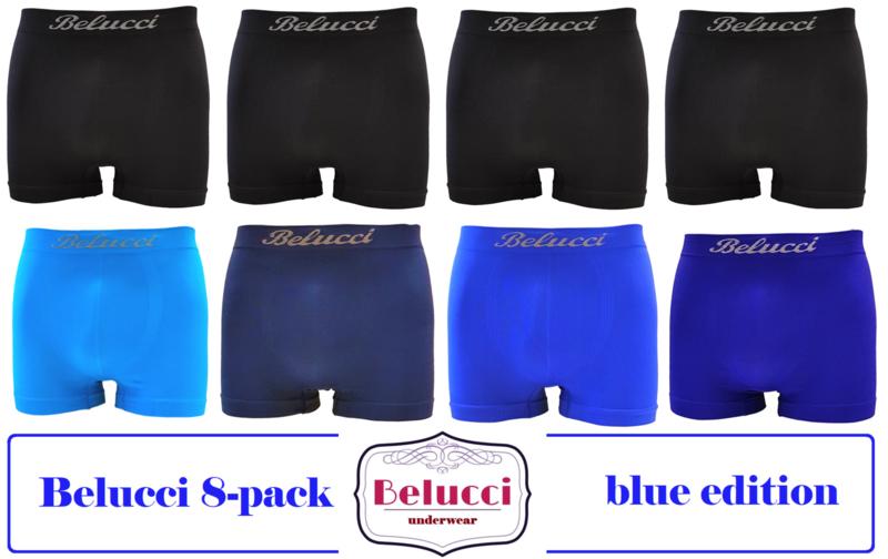 herenboxershorts van Belucci 8pack - blue edition -