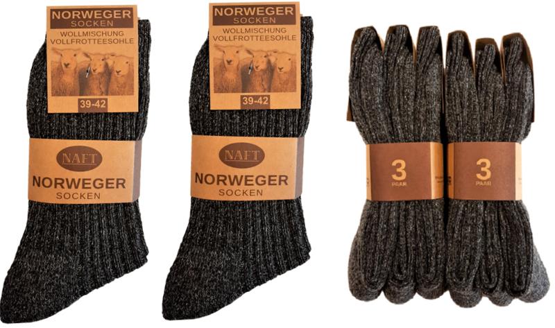 Noorse sokken antraciet 6 paar