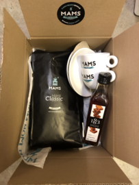 (P4) MAMS KG koffiebonen + 2*kop&schotel + 250ml siroop