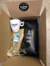 (P1) MAMS KG koffiebonen, Thee 100gr, Mok & Theeglas