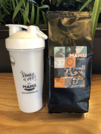 (P6 sport) 500gr koffiebonen (Jelle v Gorkom + MAMS Blender Bottle (Shake beker)