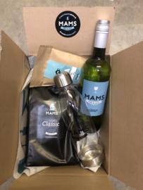 (P17 thuiswerken XL) MAMS koffiebonen, Thee, Fles Wijn & Waterfles